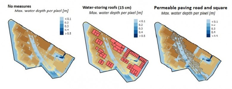 Maximum water depth after heavy rainfall in 3 scenarios: without measures, with water storing roofs and with permeable road surfaces